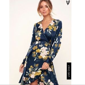 NWT - NAVY BLUE FLORAL PRINT SATIN WRAP DRESS